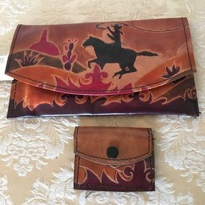 NEW genuine leather tooled wallet & key chain